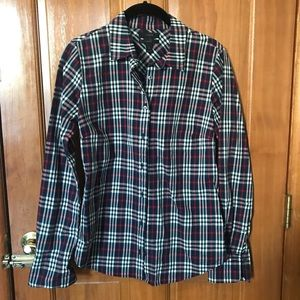 JCrew plaid red, black and white button down.